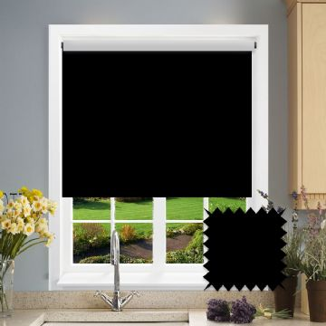 PVC Blackout Plain Black Roller Blind